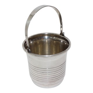 Streamline Moderne 1930s Silver Plated Mini Ice Bucket With Hallmarks For Sale