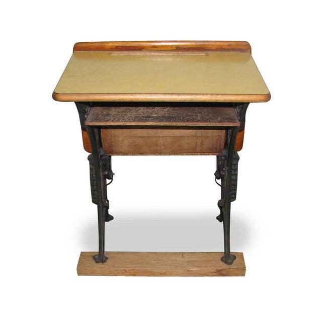 Antique children's school desk with original wood top and decorative iron  legs. - Antique School Desk With Iron Legs Chairish