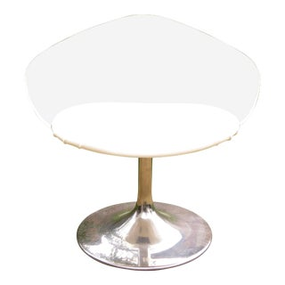 Mid Century Modern Chrome Tulip Lucite Vanity Chair For Sale