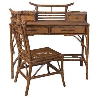 Faux Tortoise Finish Bamboo Desk & Chair