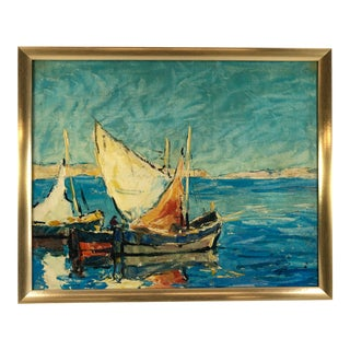 Vintage Impressionistic Seascape Sailboats Oil Painting on Canvas Signed For Sale
