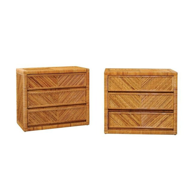 Incredible Pair of Restored Vintage Cane and Reed Bamboo Small Chests For Sale - Image 11 of 11