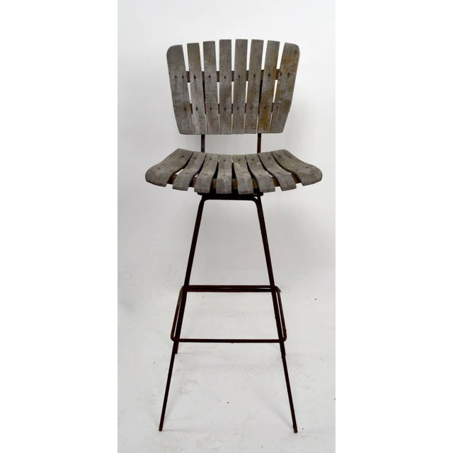 Tan Vintage Umanoff Weathered Wood Stools- Set of 4 For Sale - Image 8 of 11