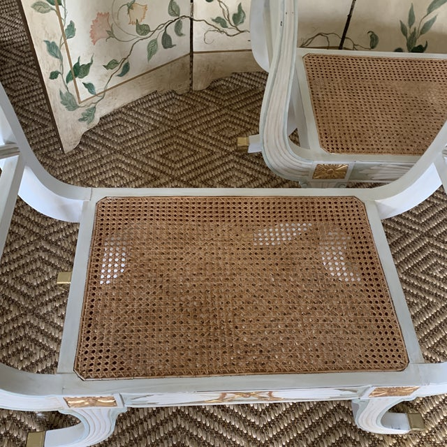 Late 20th Century Swedish Blue and Gold Regency Style Cane Benches - a Pair For Sale - Image 5 of 9