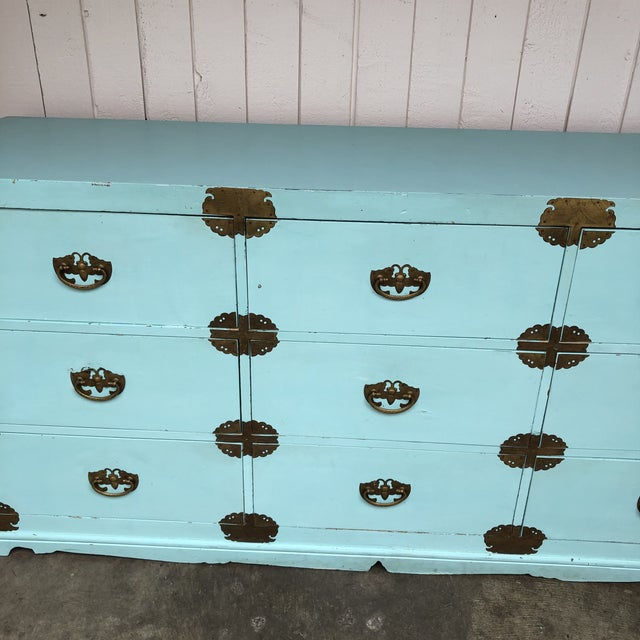 Mid-Century Modern Antique Korean Dresser Campaign in Tiffany Blue For Sale - Image 3 of 12