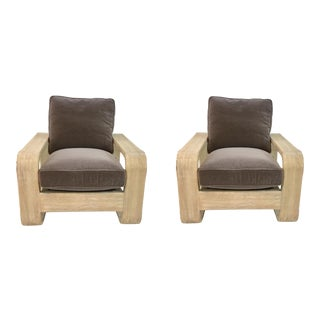Caracole in the Loop Gray Velvet Club Chairs Pair, For Sale