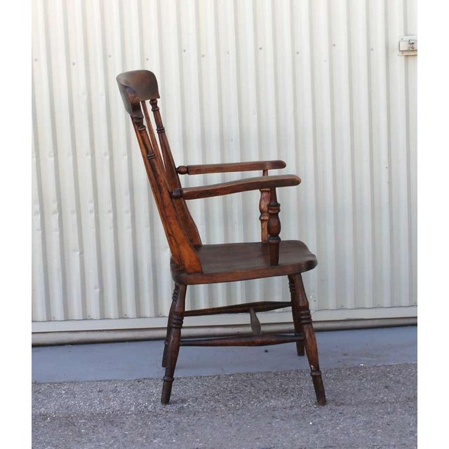 19thc English High Back Arm Chair For Sale - Image 4 of 8