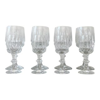 Set of 8 Antique Cut Crystal Wine Glasses For Sale