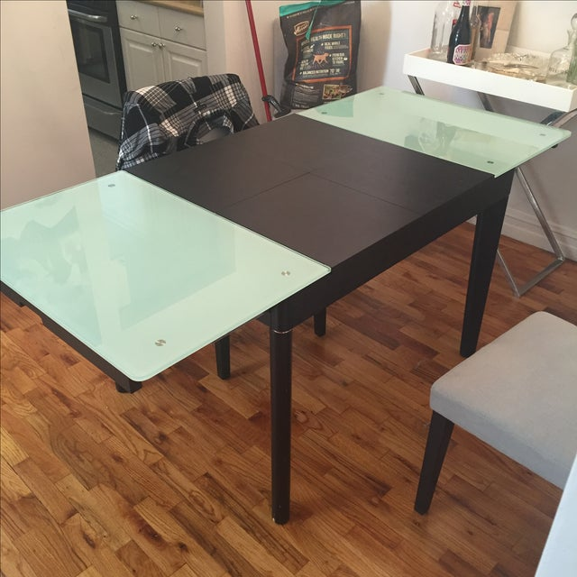 Mixed Media Glass and Wood Covertible Dining Table - Image 3 of 7