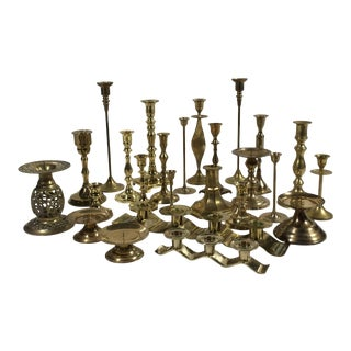 Set of 25 Vintage Brass Candle Holders For Sale