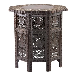Carved Teak Moorish Table With Grape Leaf Design For Sale