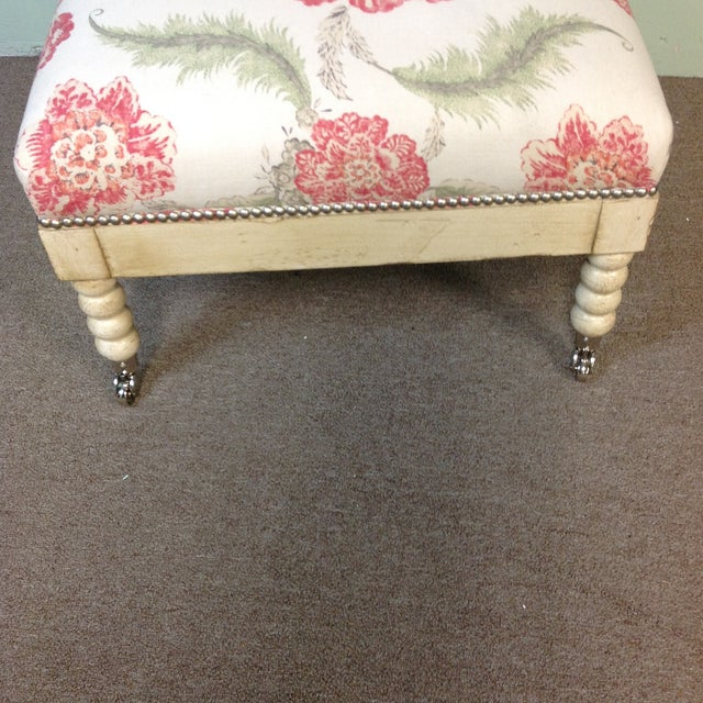 Lillian August Tufted Upholstered Floral Ottoman For Sale - Image 5 of 7