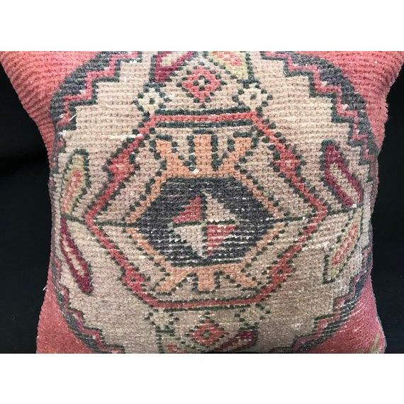 1960's Turkish Tribal Handwoven Oushak Pillow For Sale - Image 9 of 11