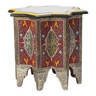 1990s Moorish Brass and Wood Moroccan Brown End Table For Sale