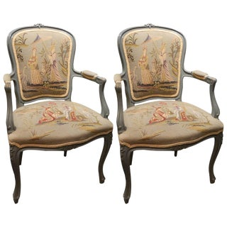 Pair of Louis XVI Style Painted Chairs With Needlepoint Tapestry, 20th Century For Sale