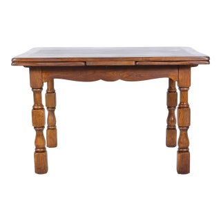 Early 20th-Century French Country Pine Farm Hidden Leaf Table For Sale