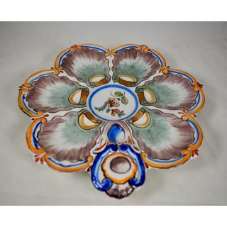 St. Clément French Faïence Orange Rim Floral Oyster Plate Preview