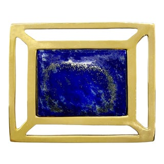 Addison Weeks Downing Knob, Brass & Lapis For Sale