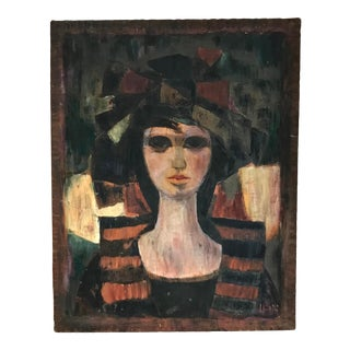 """1970s """"Portrait of a Women"""" Expressionist Style Figurative Acrylic Painting on Board For Sale"""
