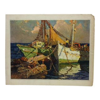 "1930s Vintage L. Bonomeci ""Fishing Boat"" Mounted Print For Sale"
