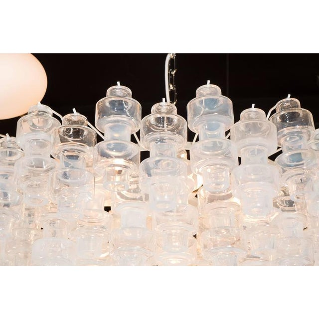 1920s Modernist Opalescent and Clear Murano Glass Barbell Chandelier For Sale - Image 5 of 10