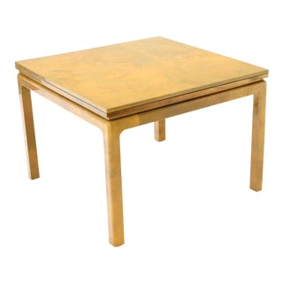 Lacqured Goat Skin Parchment Square Flip Top Dining Table For Sale