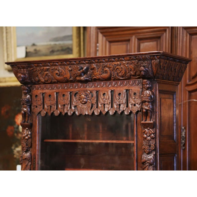Mid-19th Century French Louis XIII Heavily Carved Oak Secretary Bookcase Desk For Sale - Image 4 of 13
