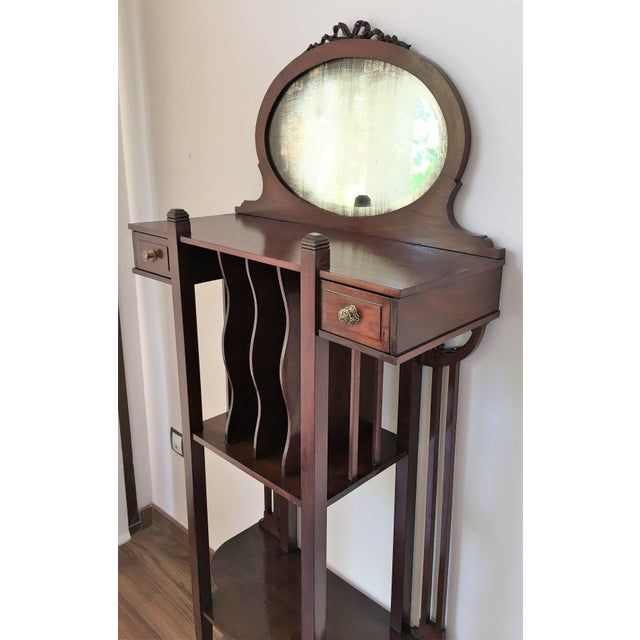 Mid-Century Modern 1920s Art Deco Vinyl Cabinet Vanity in Mahogany For Sale - Image 3 of 8