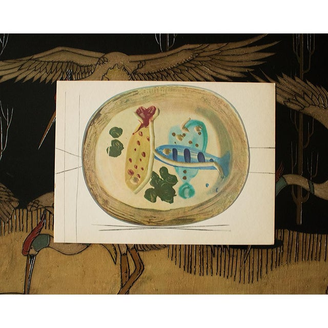 Pablo Picasso 1955 Pablo Picasso Ceramic Plate With Fish and Olives, Original Period Swiss Lithograph For Sale - Image 4 of 6