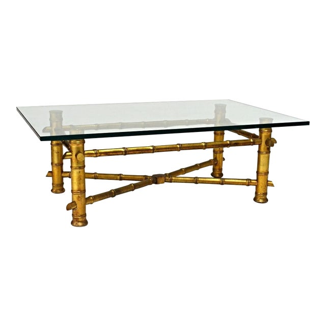 Faux Bamboo Glass Top Coffee Table For Sale