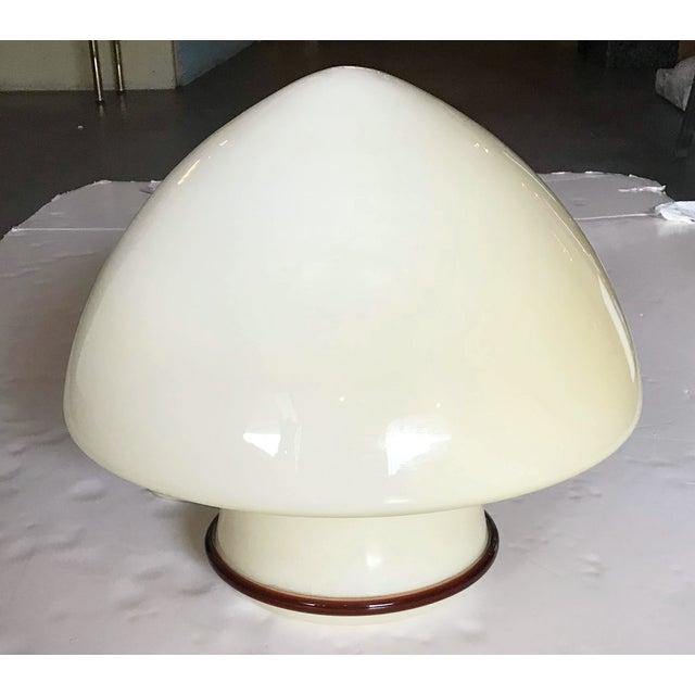 Vintage Italian cream colored Murano glass table lamp with a dark amber glass edge / Designed by De Majo circa 1960's /...