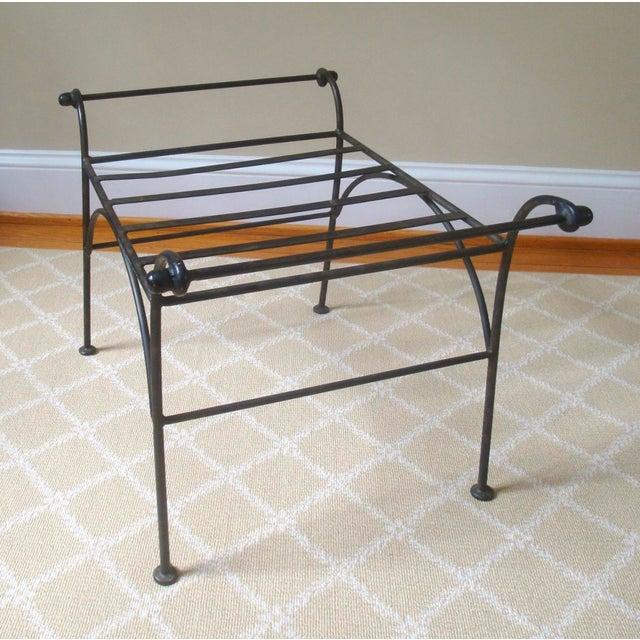 Iron Regency Cerule Metal Bench For Sale - Image 4 of 5