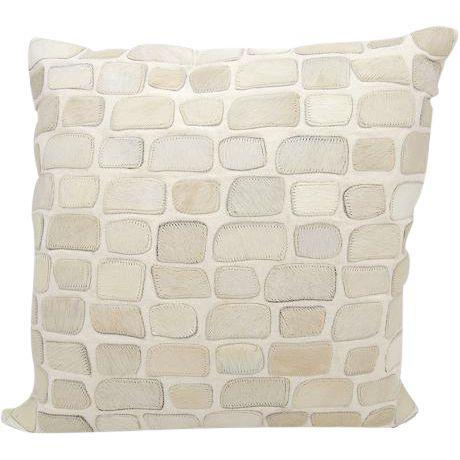 Two hand cut natural hair on hide and leather pieces skillfully sewn to create an elegant, high fashion pillow. Natural...