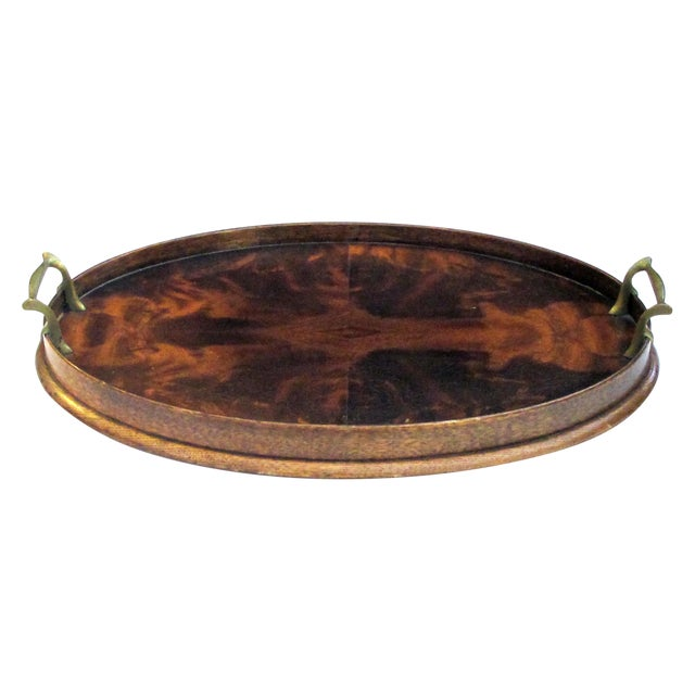 A Handsome English Edwardian Flame Mahogany Veneered Oval Tray With Brass Handles For Sale