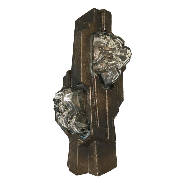 Brutalist Sculptural Rock Crystal Formation Ceramic and Glass Table Lamp For Sale - Image 13 of 13