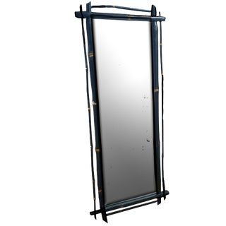 1980s Rustic Ebonized Bamboo Pier Mirror For Sale