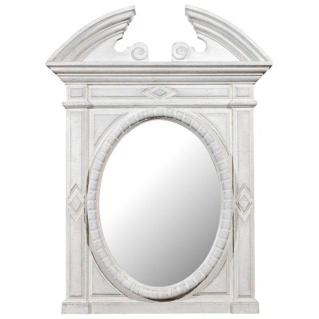 Renaissance Style 1850s Belgian Painted Oval Mirror with Broken Arch Pediment For Sale - Image 12 of 12