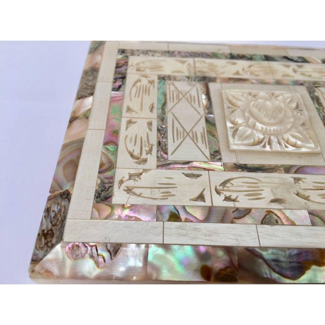 Middle Easter beautiful decorative rectangular box covered in abalone and hand-carved mother-of-pearl inlaid. Measures:...