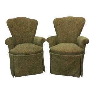 Custom Arched Back Skirted Arm Chairs - A Pair