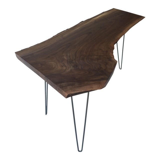 Mid-Century Walnut Live Edge Side Table For Sale