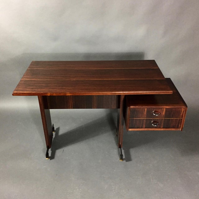 Midcentury Continental Mahogany Dressing Table or Small Desk For Sale - Image 9 of 10