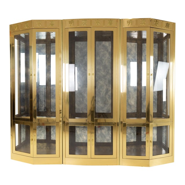 Mastercraft Mid Century Brass Display Cabinet - Set of 3 For Sale