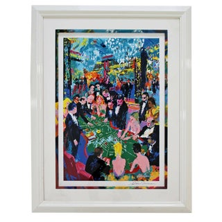 Contemporary Modern Framed Colorful Serigraph Baccarat Signed Leroy Neiman 1994 For Sale