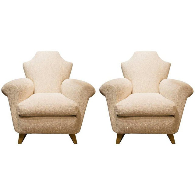 Pair of French Armchairs in Wood and Fabric, Circa 1940 For Sale - Image 6 of 6