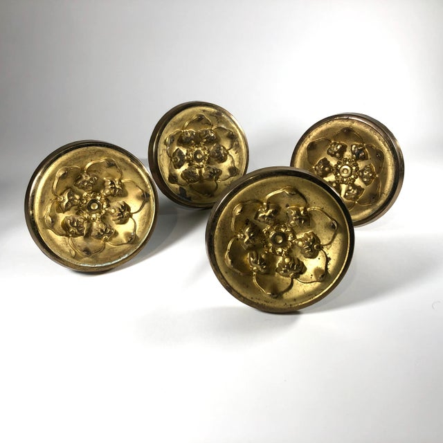 Early 19th Century American Federal Period Gilt Spun Brass Tiebacks - Set of 4 For Sale - Image 4 of 4