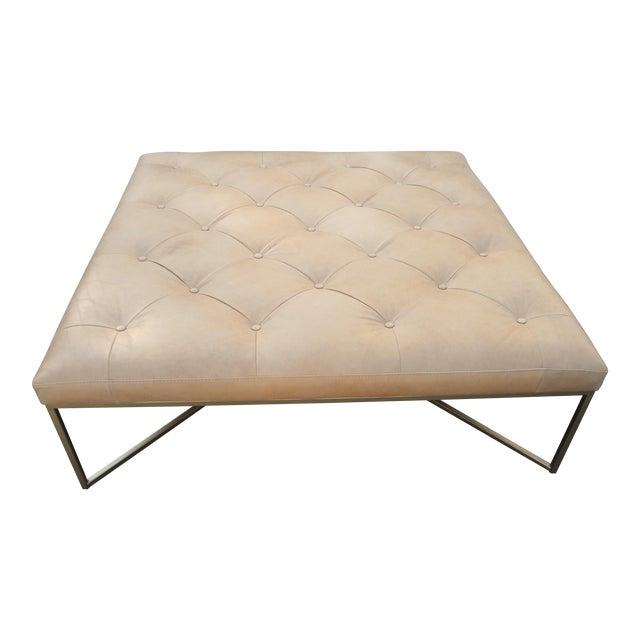 Pleasant Tufted Square Charme Tan Leather Ottoman W Gold Legs Customarchery Wood Chair Design Ideas Customarcherynet