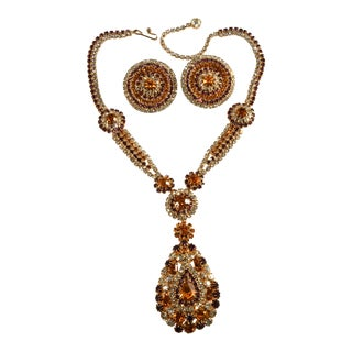 Purple & Clear Rhinestone Dangling Necklace & Earrings Set With Amber For Sale