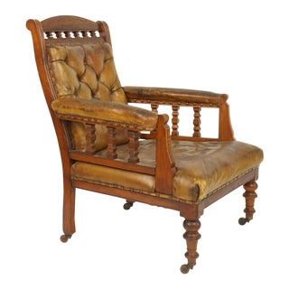 English Walnut and Distressed Leather Club Chair For Sale