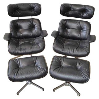 Eames Style Mid-Century Modern Lounge Chairs & Ottomans - 4 Pieces For Sale