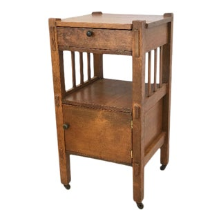 Antique Arts and Crafts Solid Oak Side Table For Sale
